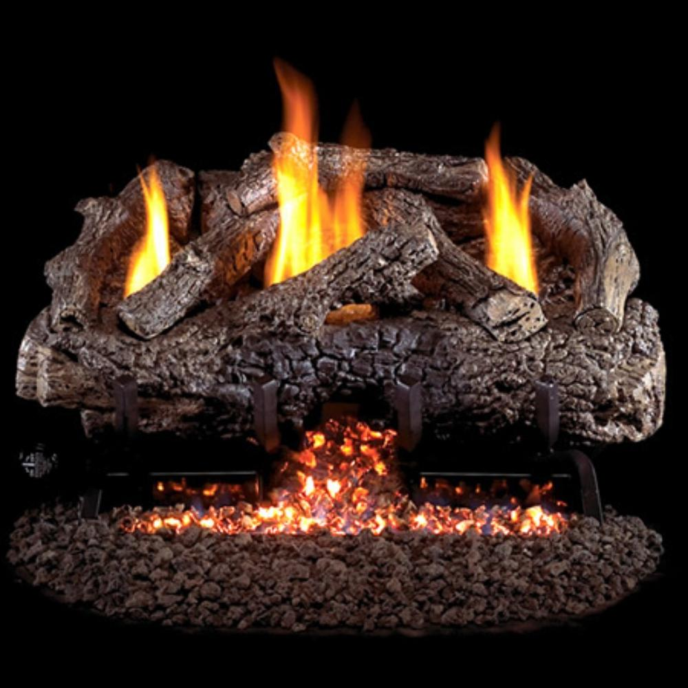 Real Fyre Charred Frontier Oak Vent-Free Gas Log Set Insert