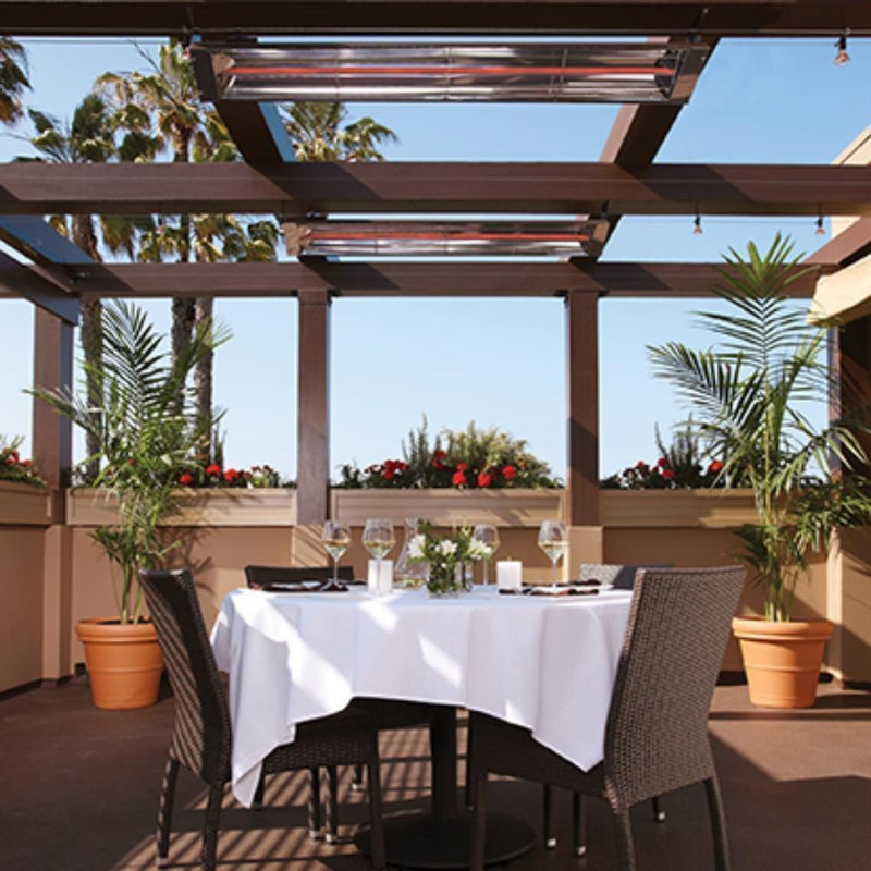 ElectricSchwank Infrared Electric Heaters in Outdoor Dining Area