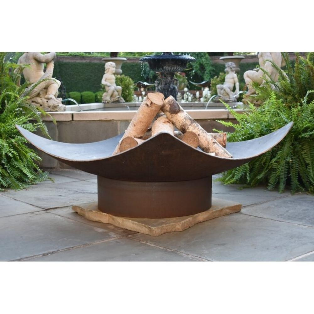 Seasons Fire Pits Quadrilateral Square Steel Fire Pit by a Fountain