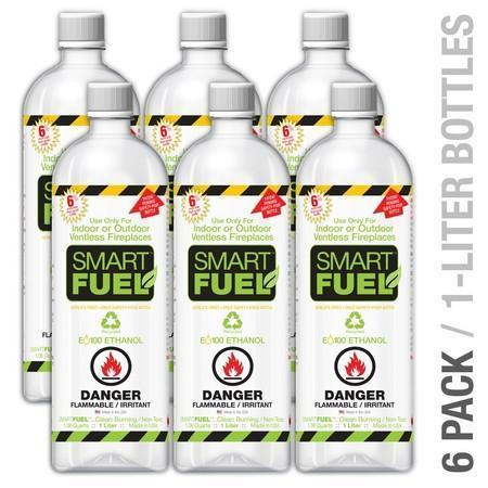 Ethanol Fireplace Fuel - SMARTFUEL™ Indoor & Outdoor Ventless Fireplace Fuel (Ethanol) 6 Or 12 Liter Pack
