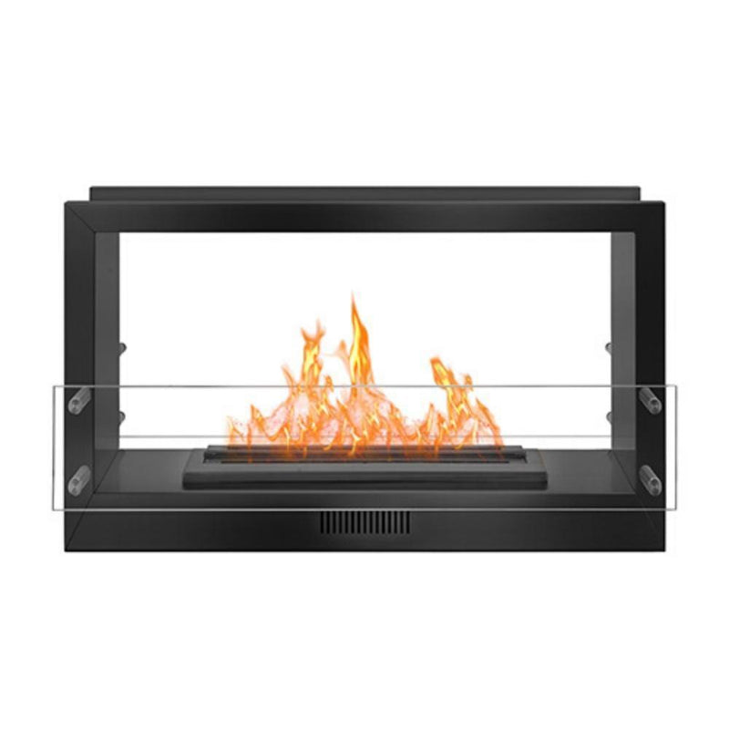 "The Bio Flame 38"" Smart Firebox DS - See-Through Ethanol Fireplace in Black"