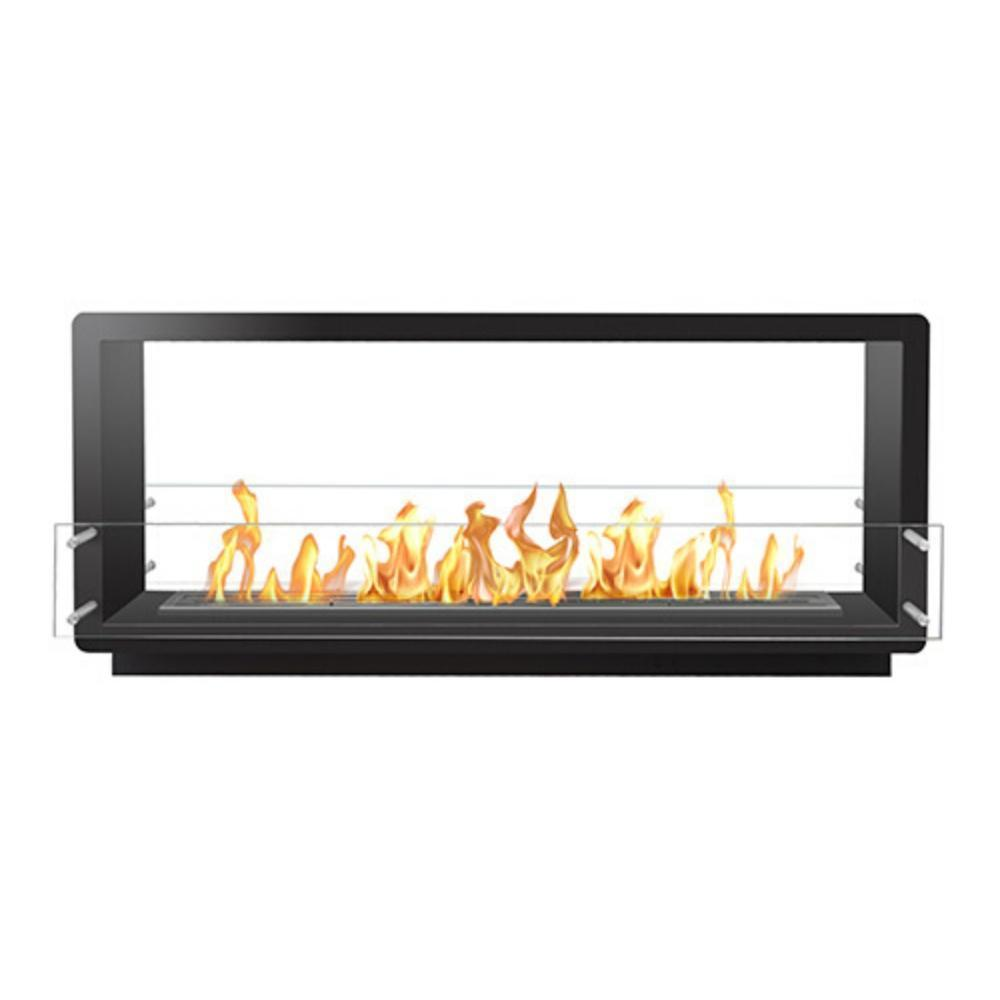 "The Bio Flame 60"" Smart Firebox DS - See-Thru Ethanol Fireplace in Black"