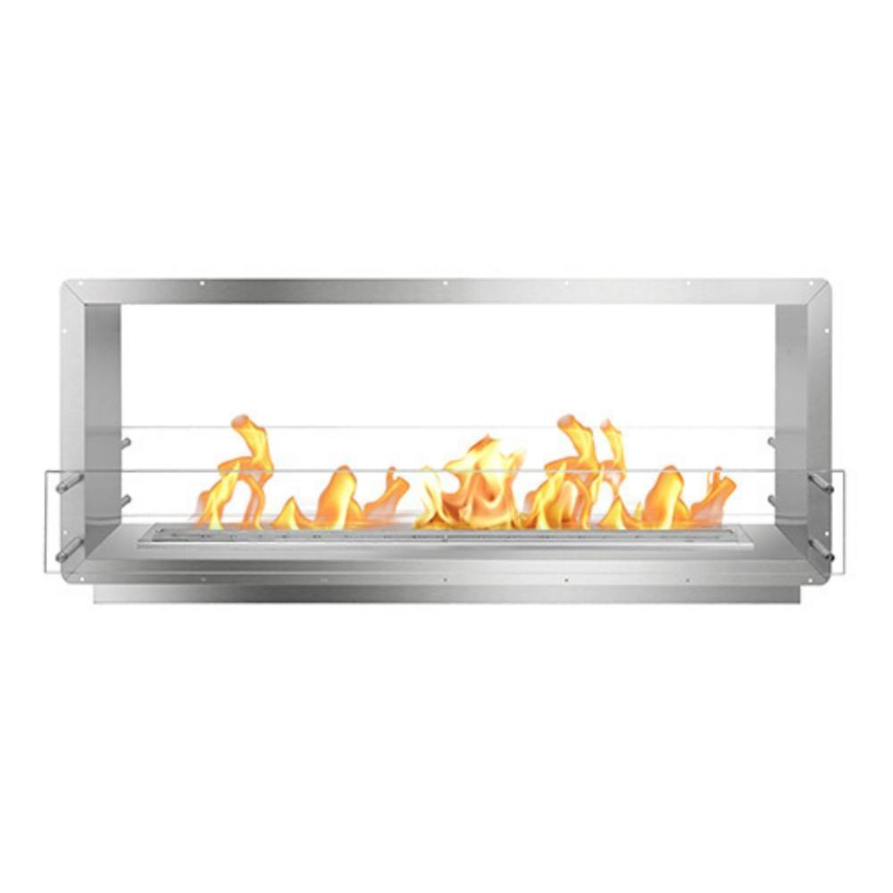 "The Bio Flame 60"" Smart Firebox DS - See-Thru Ethanol Fireplace in Stainless Steel"