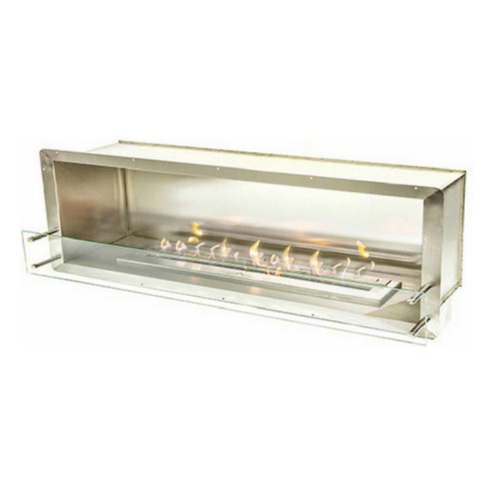 "The Bio Flame 72"" Smart Firebox SS - Built-in Ethanol Fireplace in Stainless Steel"