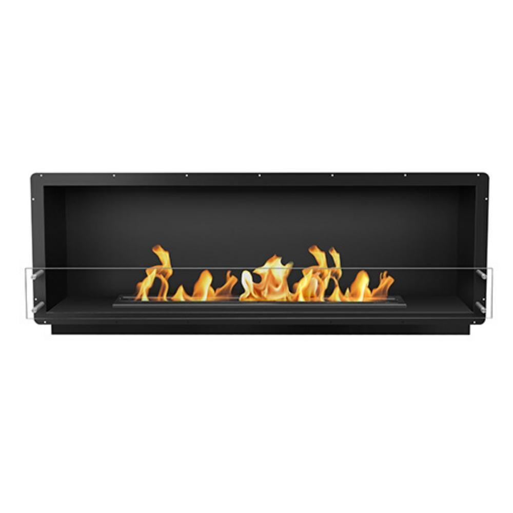 "The Bio Flame 72"" Smart Firebox SS - Built-in Ethanol Fireplace in Black"