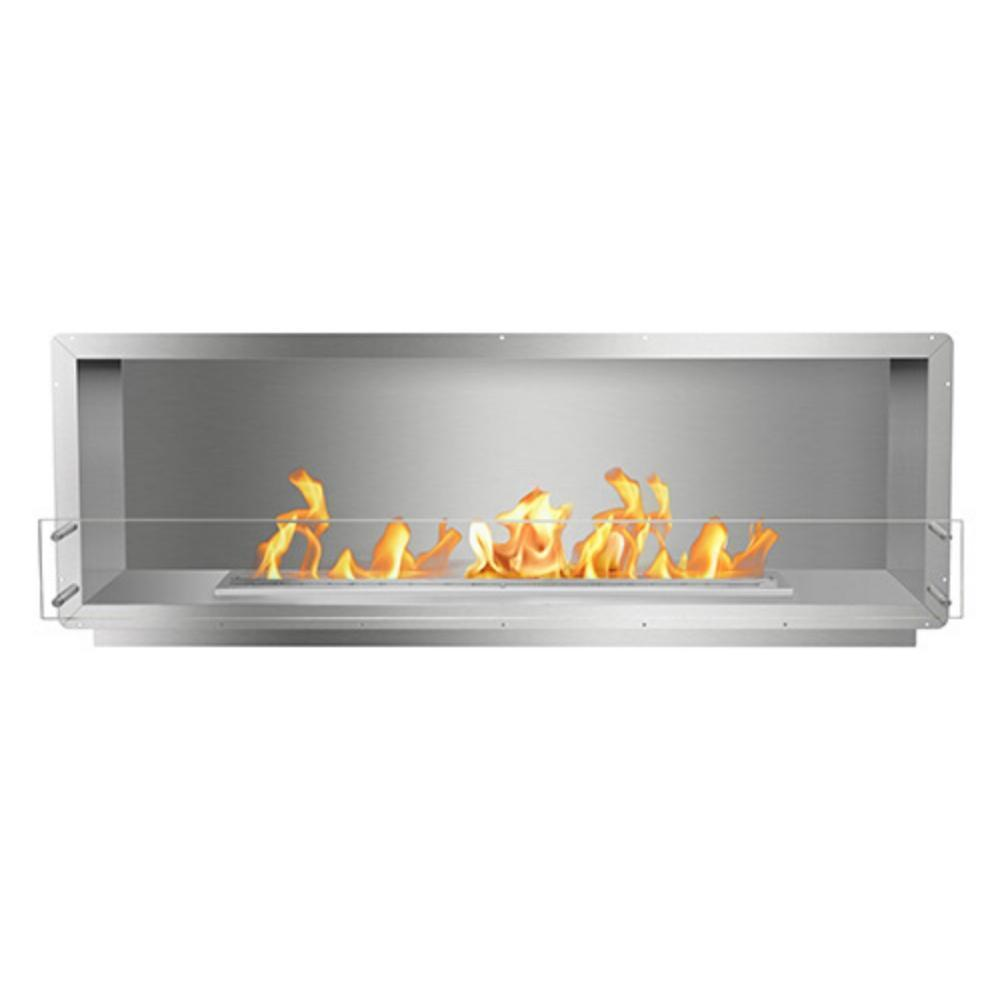 "The Bio Flame 72"" Smart Firebox SS - Built-in Ethanol Fireplace"