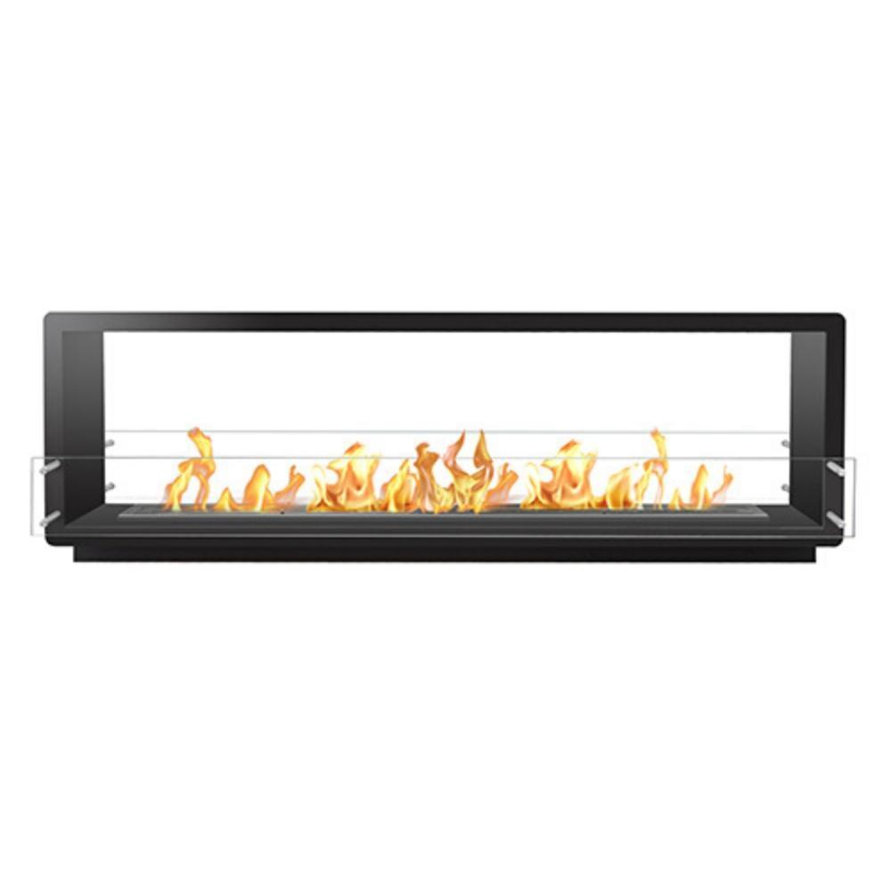 "The Bio Flame 84"" Firebox DS - Built-in See-Though Ethanol Fireplace in Black"