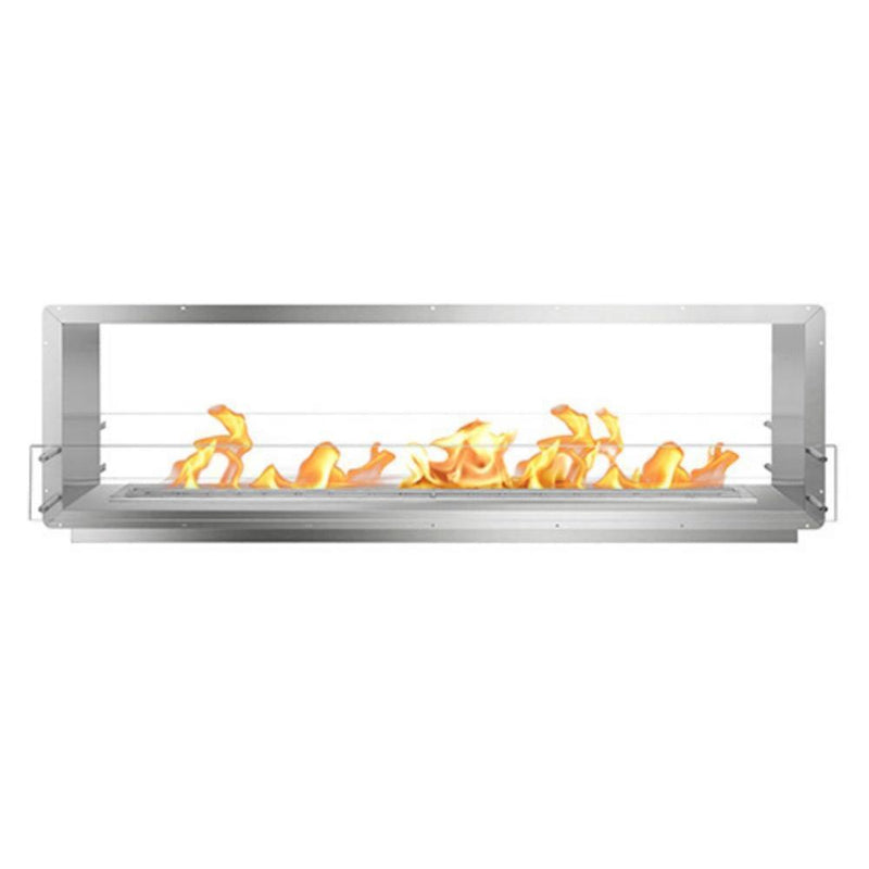 "The Bio Flame 84"" Smart Firebox DS - See-Though Ethanol Fireplace in Stainless Steel"