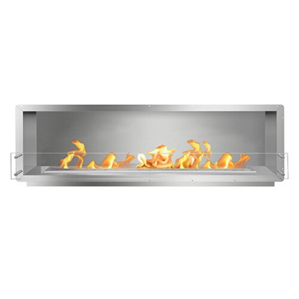 "The Bio Flame 84"" Smart Firebox SS - Built-in Ethanol Fireplace in Stainless Steel"
