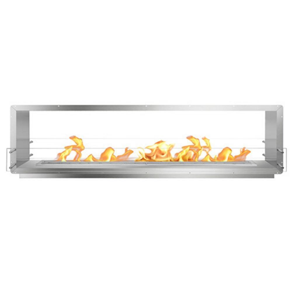 "The Bio Flame 96"" Smart Firebox DS - See-Though Ethanol Fireplace in Stainless Steel"