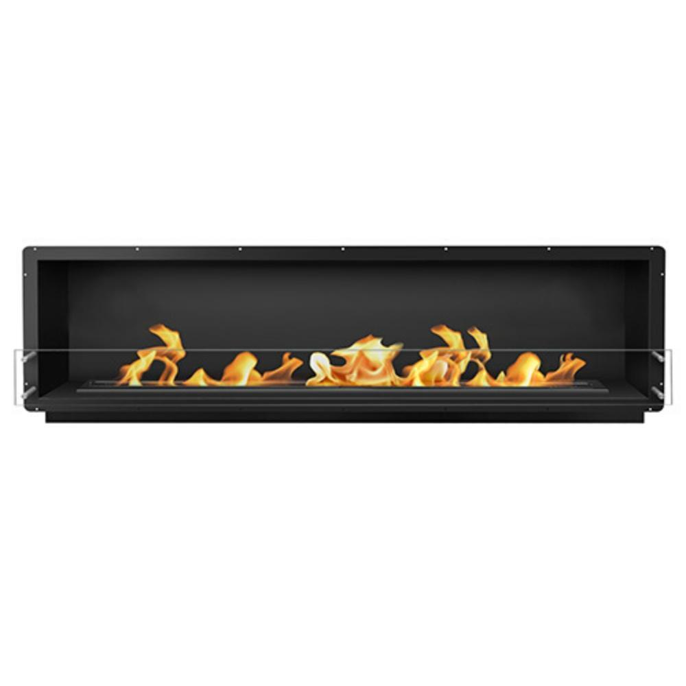 "The Bio Flame 96"" Smart Firebox SS - Built-in Ethanol Fireplace in Black"