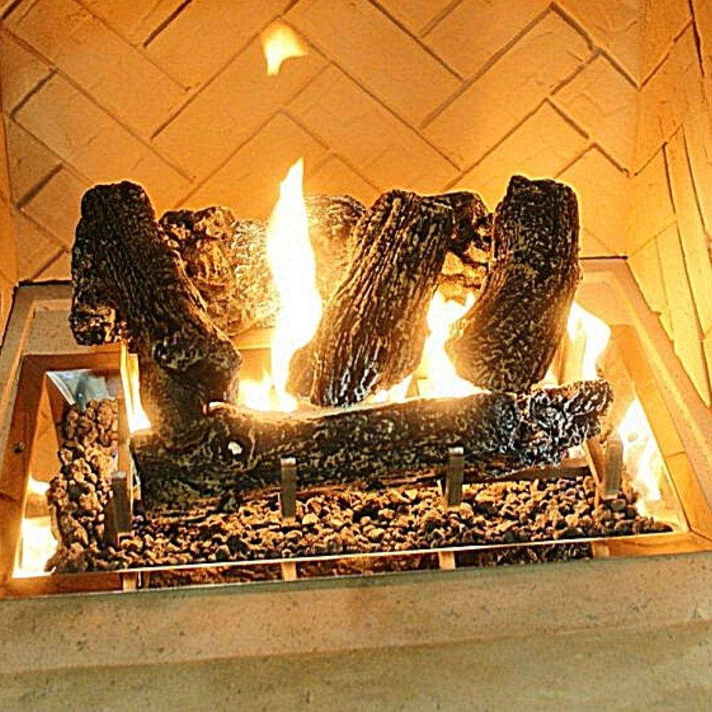 The Outdoor GreatRoom Company Log Set with Grate for Gas Fireplace