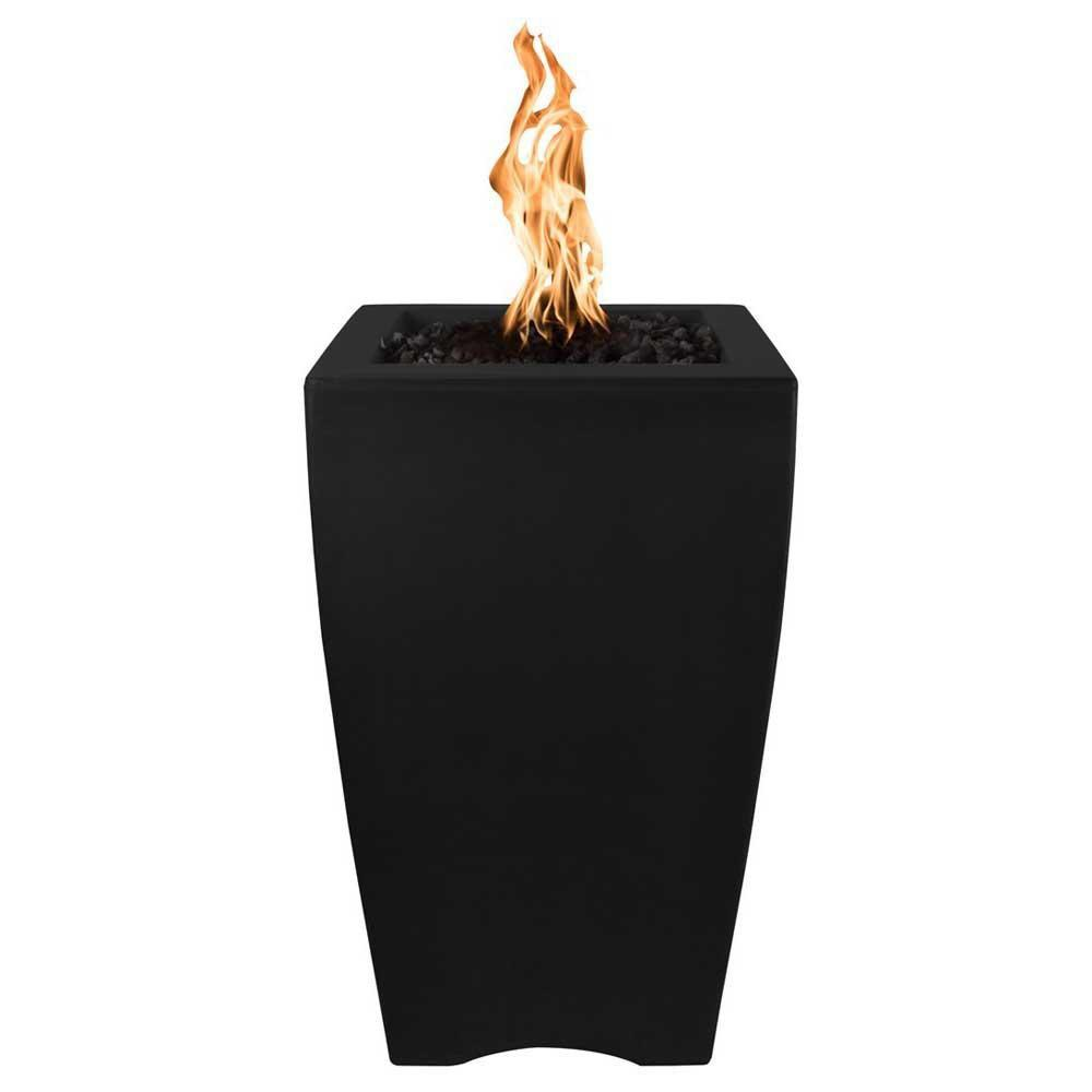 "Top Fires 20"" Baston Pillar GFRC Gas Fire Pit in Black"