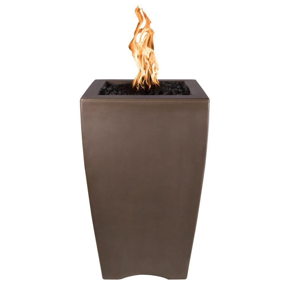"Top Fires 20"" Baston Pillar GFRC Gas Fire Pit in Chocolate"