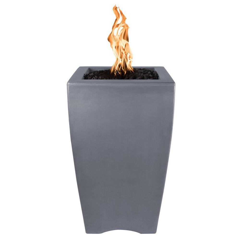 "Top Fires 20"" Baston Pillar GFRC Gas Fire Pit in Gray"