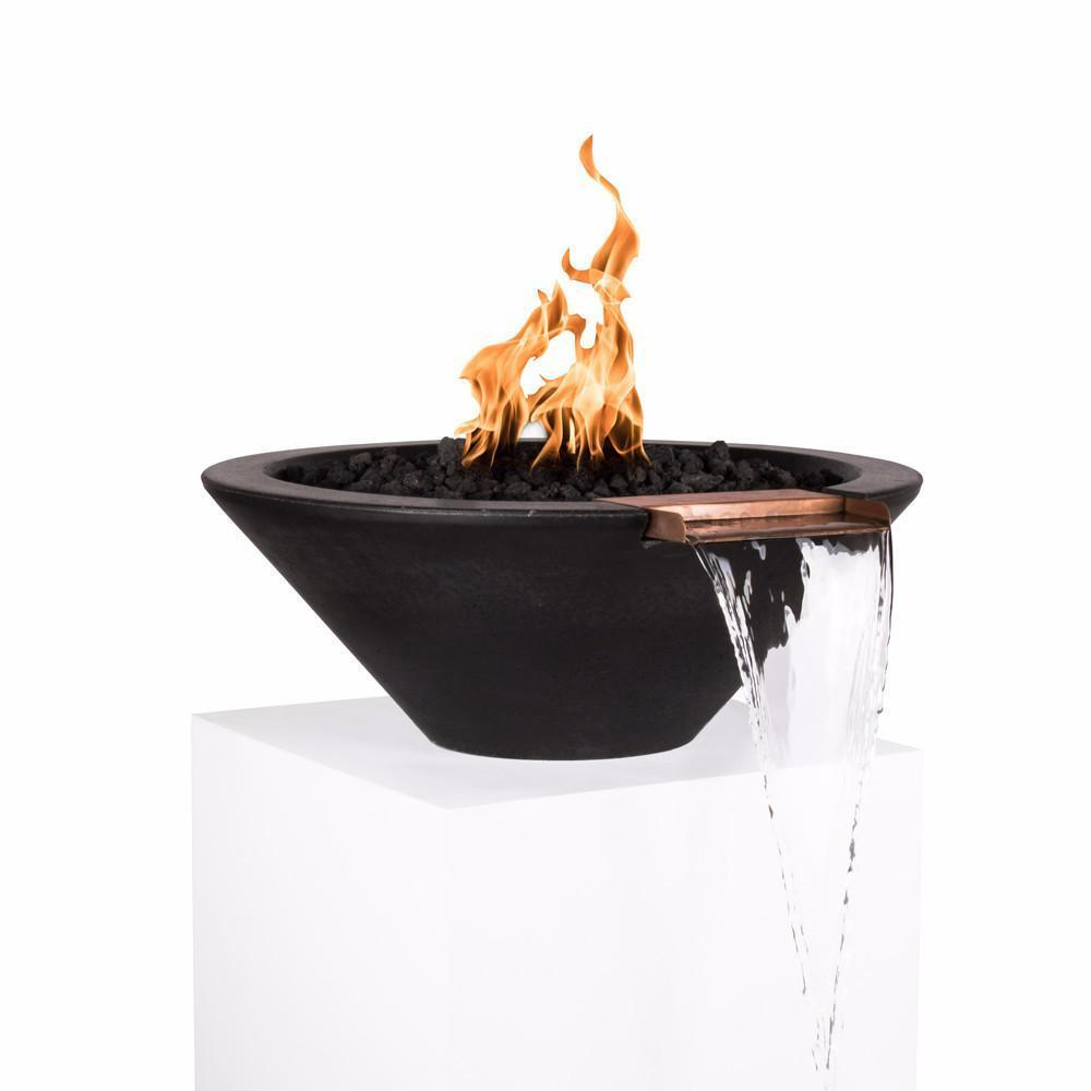 "Top Fires 24"" Round Concrete Gas Fire and Water Bowl - Match Lit (OPT-24RFWM)"