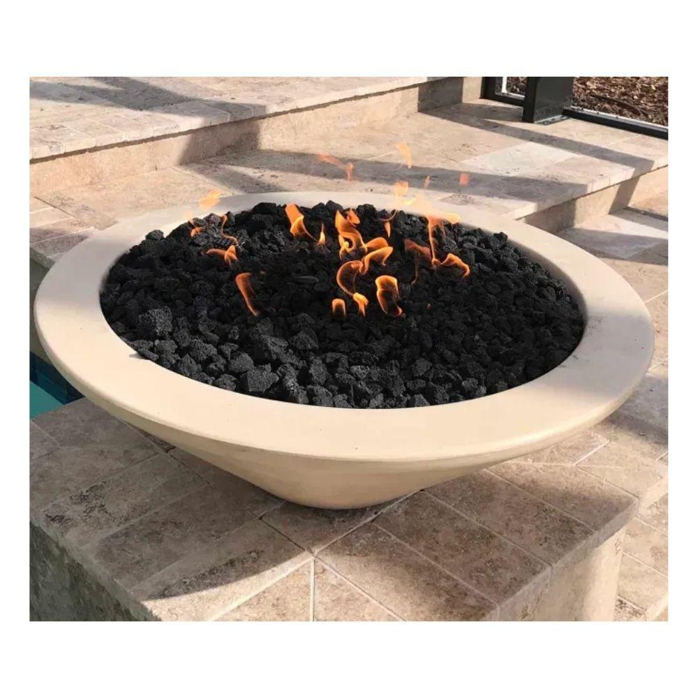 "Top Fires 24"" Round Concrete Gas Fire Bowl with Electronic Ignition, LP or NG (OPT-24RFOE)"