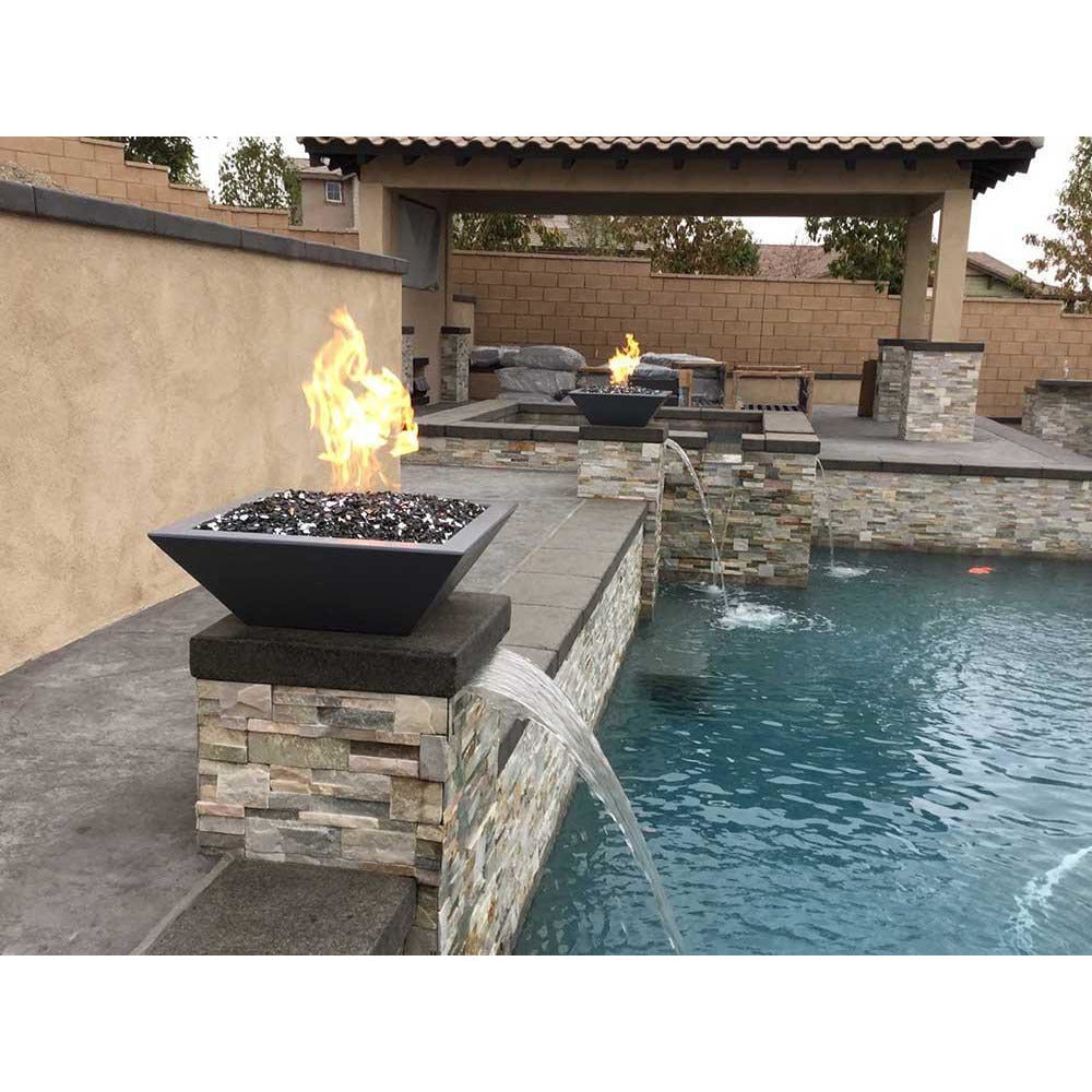 Top Fires Square Concrete Gas Fire Bowl in Black Pool Accent