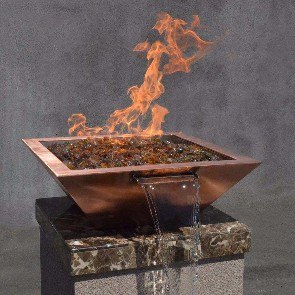 "Top Fires 24"" Square Copper Gas Fire and Water Bowl - Match Lit (OPT-24SCFW)"