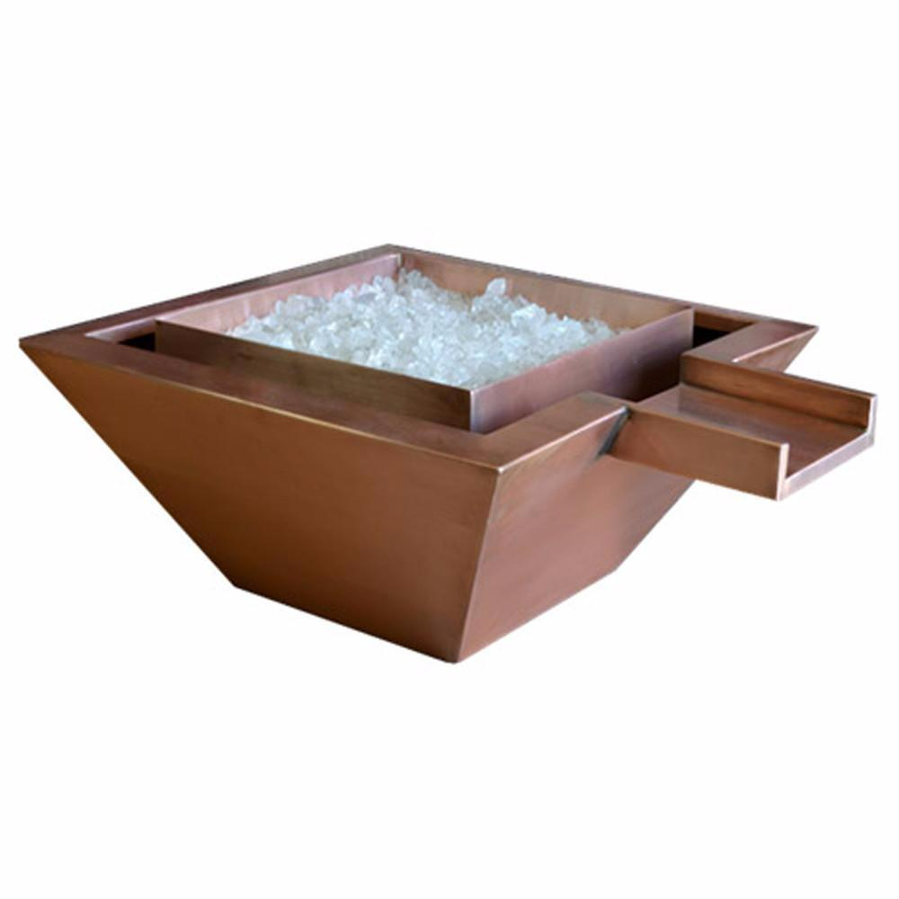"Top Fires 24"" Square Copper Gas Fire and Water Bowl - Match Lit (OPT-SQ24FANDW)"