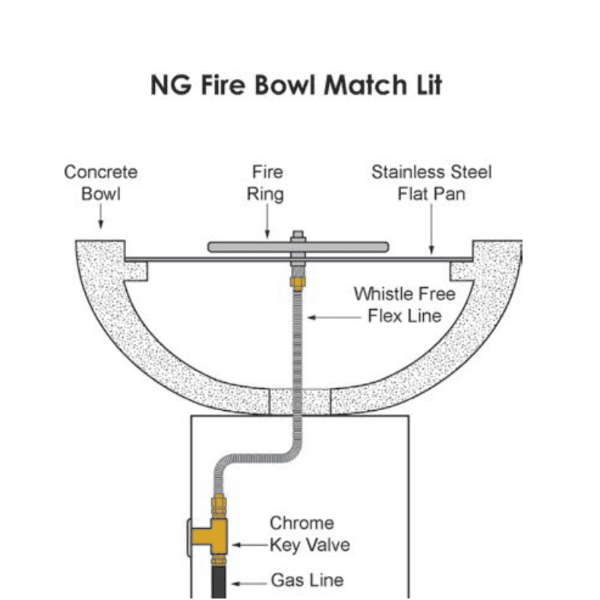 Top Fires NG Match Lit Fire Bowl Technical Drawing