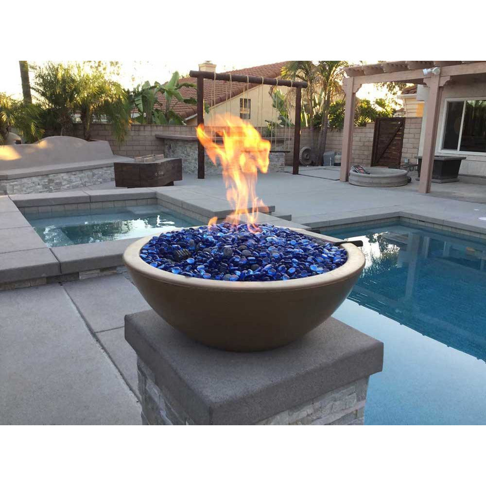 Top Fires Round Concrete Gas Fire and Water Bowl with Fire Glass