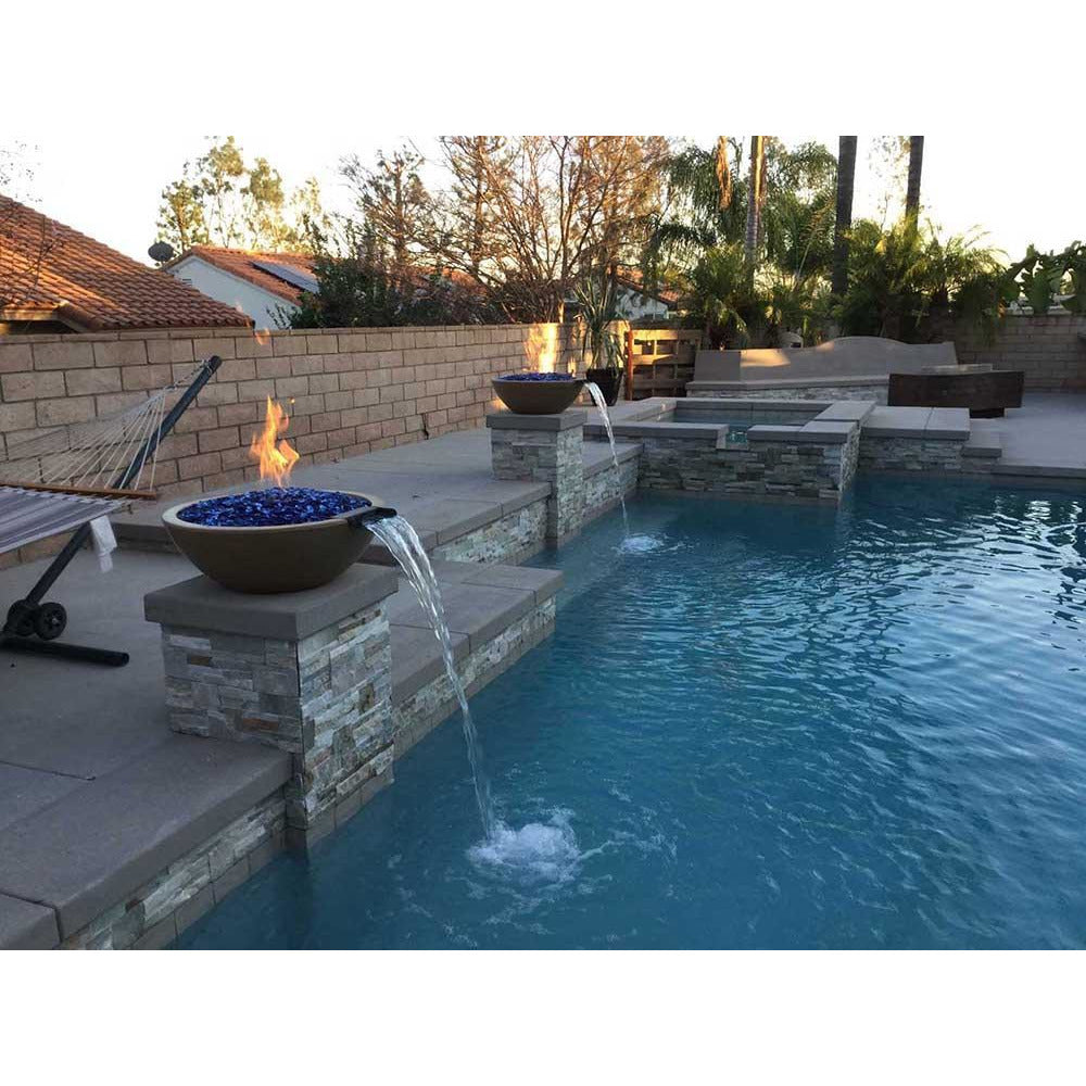 Top Fires Round Concrete Gas Fire and Water Bowl Pool Accent