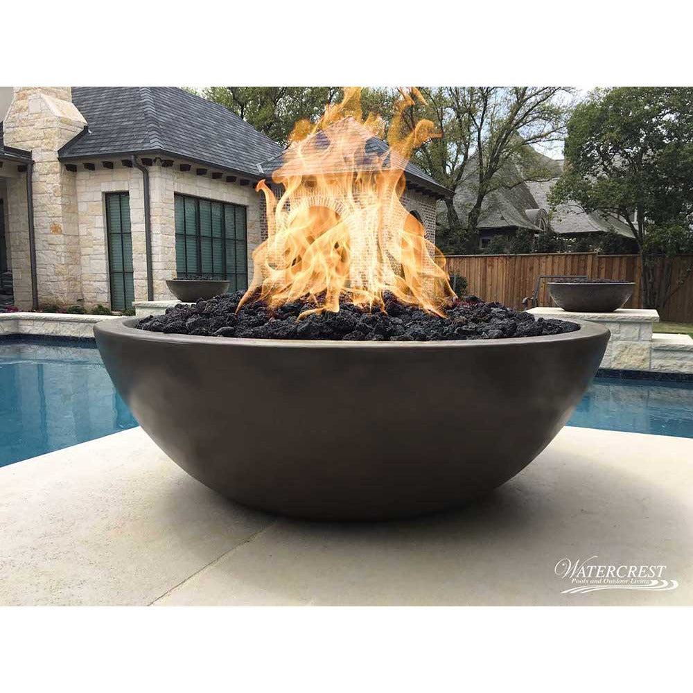 Top Fires Round Concrete Gas Fire Bowl in Chocolate