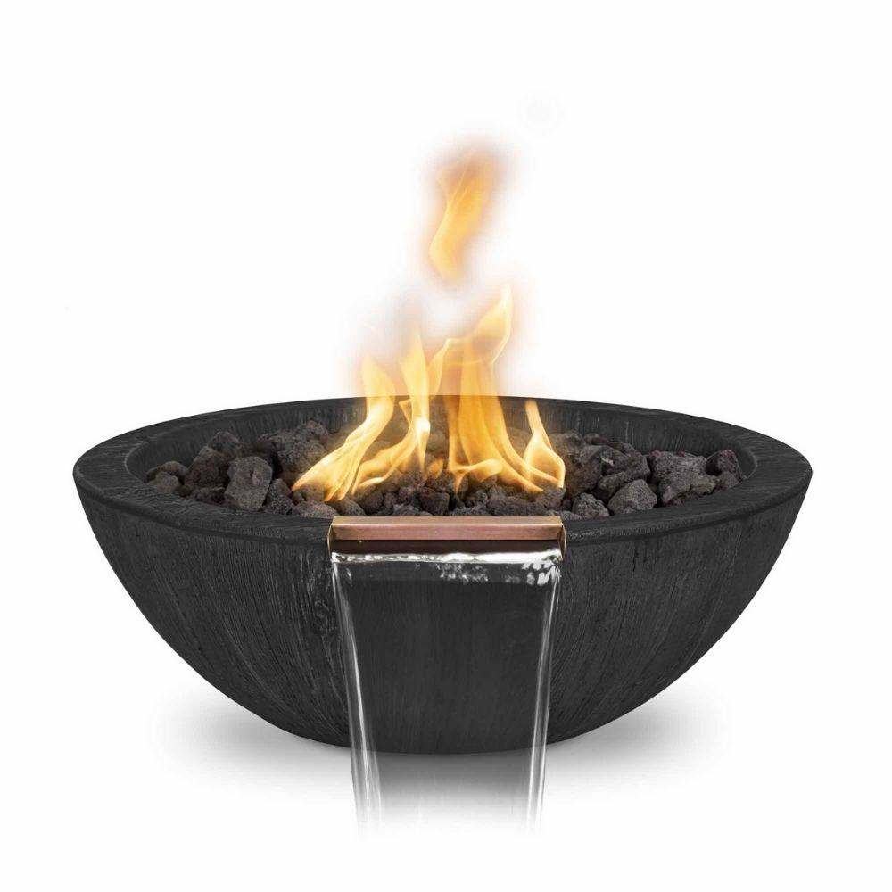 "27"" Sedona Wood Grain GFRC Gas Fire and Water Bowl in Ebony"