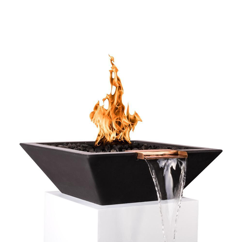 "Top Fires 30"" Square Concrete Gas Fire and Water Bowl - Match Lit (OPT-30SFWM)"