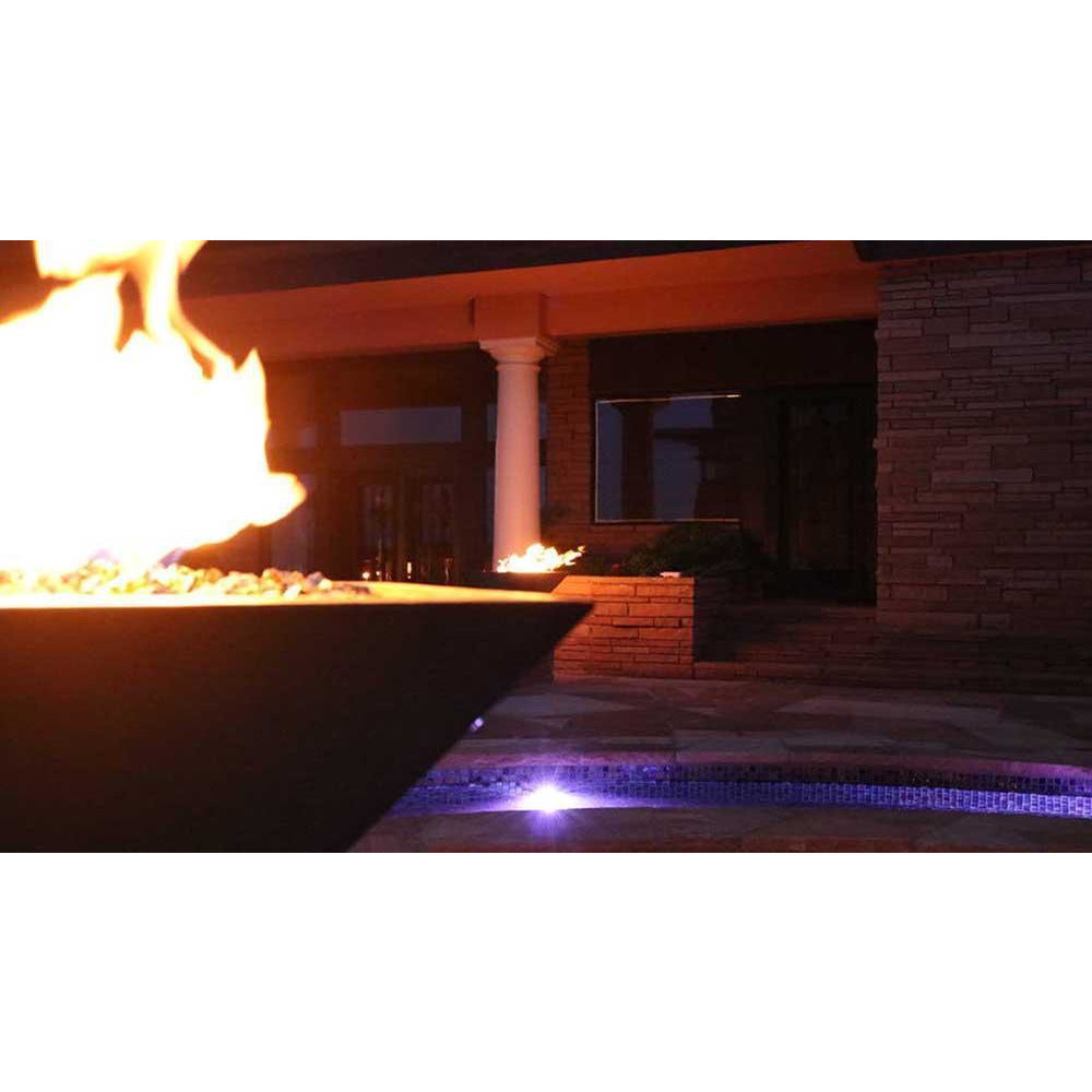 Top Fires Square Concrete Gas Fire Bowl in Pool Area