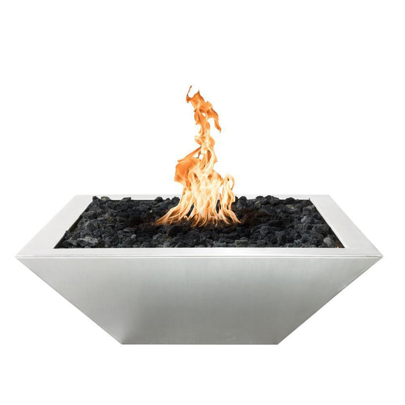 "Top Fires 30"" Square Stainless Steel Gas Fire Bowl - Electronic Ignition (OPT-103-SQ30WFE)"