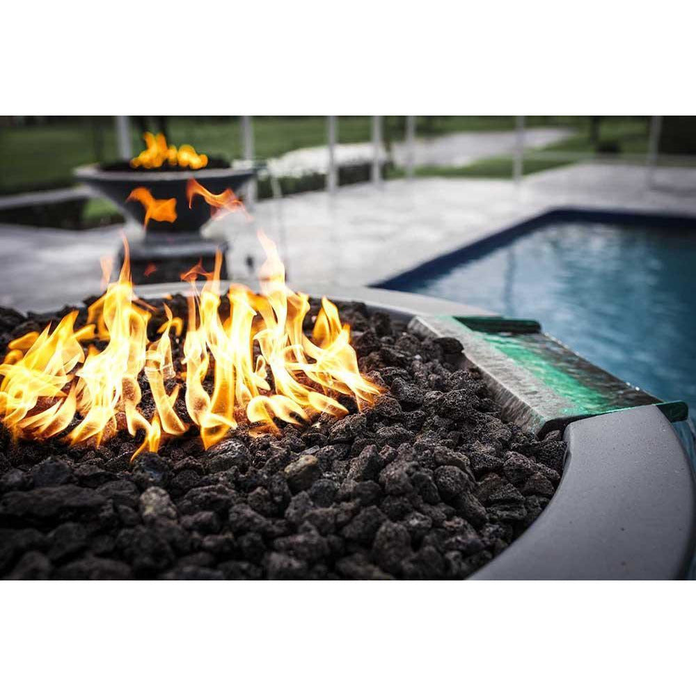 Top Fires Round Concrete Gas Fire and Water Bowl with Lava Rocks