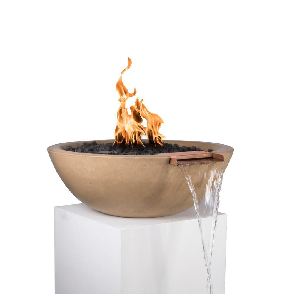 "Top Fires 33"" Round Concrete Gas Fire and Water Bowl - Electronic (OPT-33RFWE)"