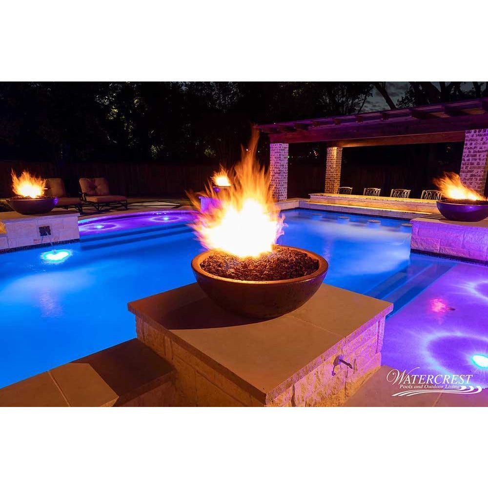 Top Fires Round Concrete Gas Fire Bowl in Chocolate Pool Accent