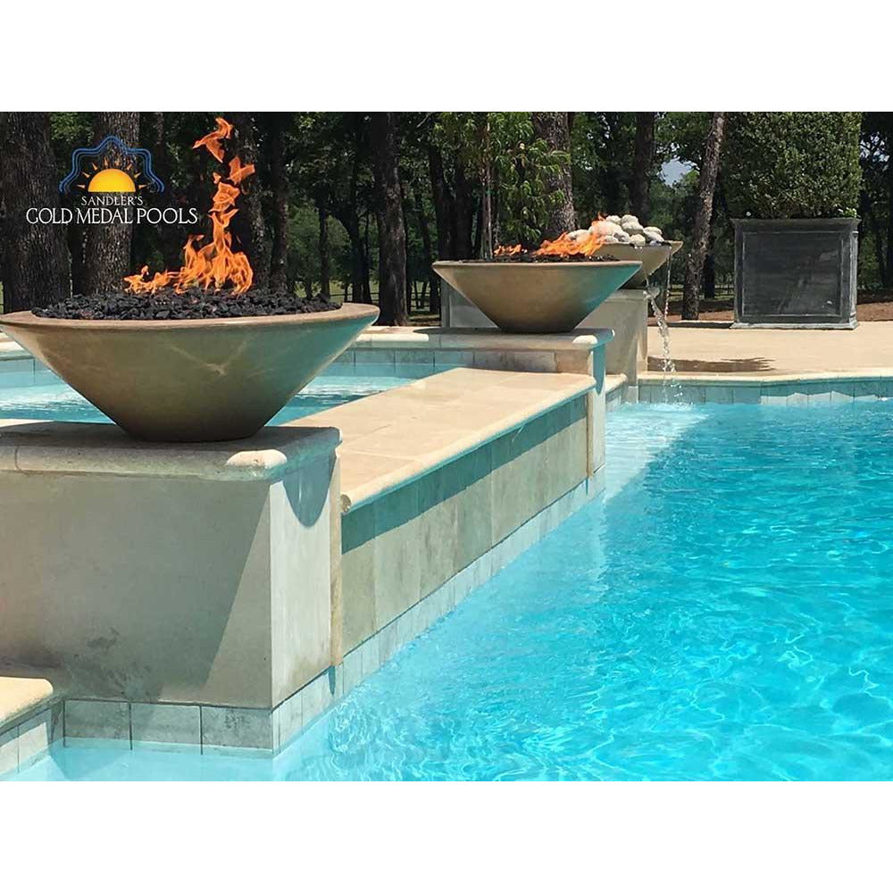 Top Fires Round Concrete Gas Fire and Water Bowl Poolside