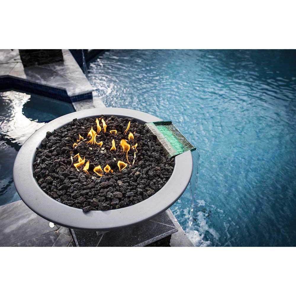 Top Fires Round Concrete Gas Fire and Water Bowl in Gray Pool Accent