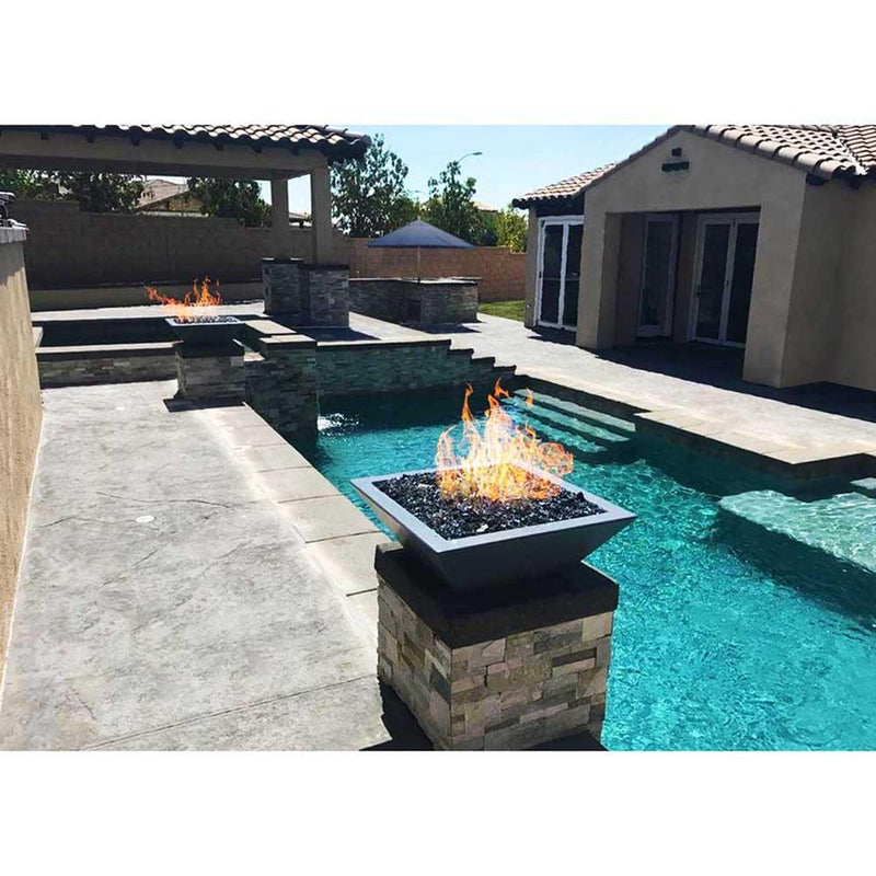 Top Fires Square Concrete Gas Fire Bowl in Gray Pool Accent