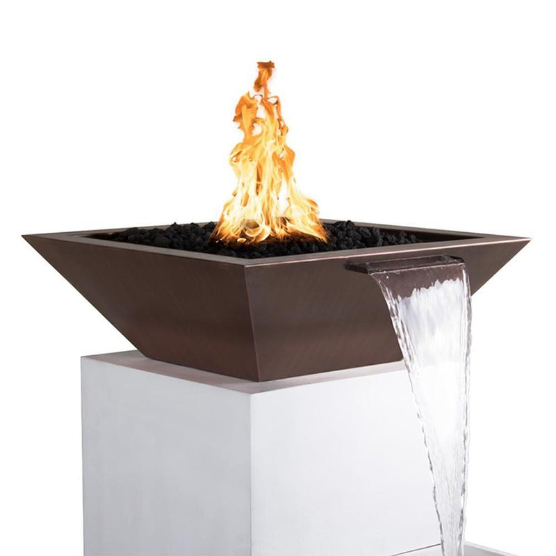 "Top Fires 36"" Square Copper Gas Fire and Water Bowl - Match Lit (OPT-36SCFW)"