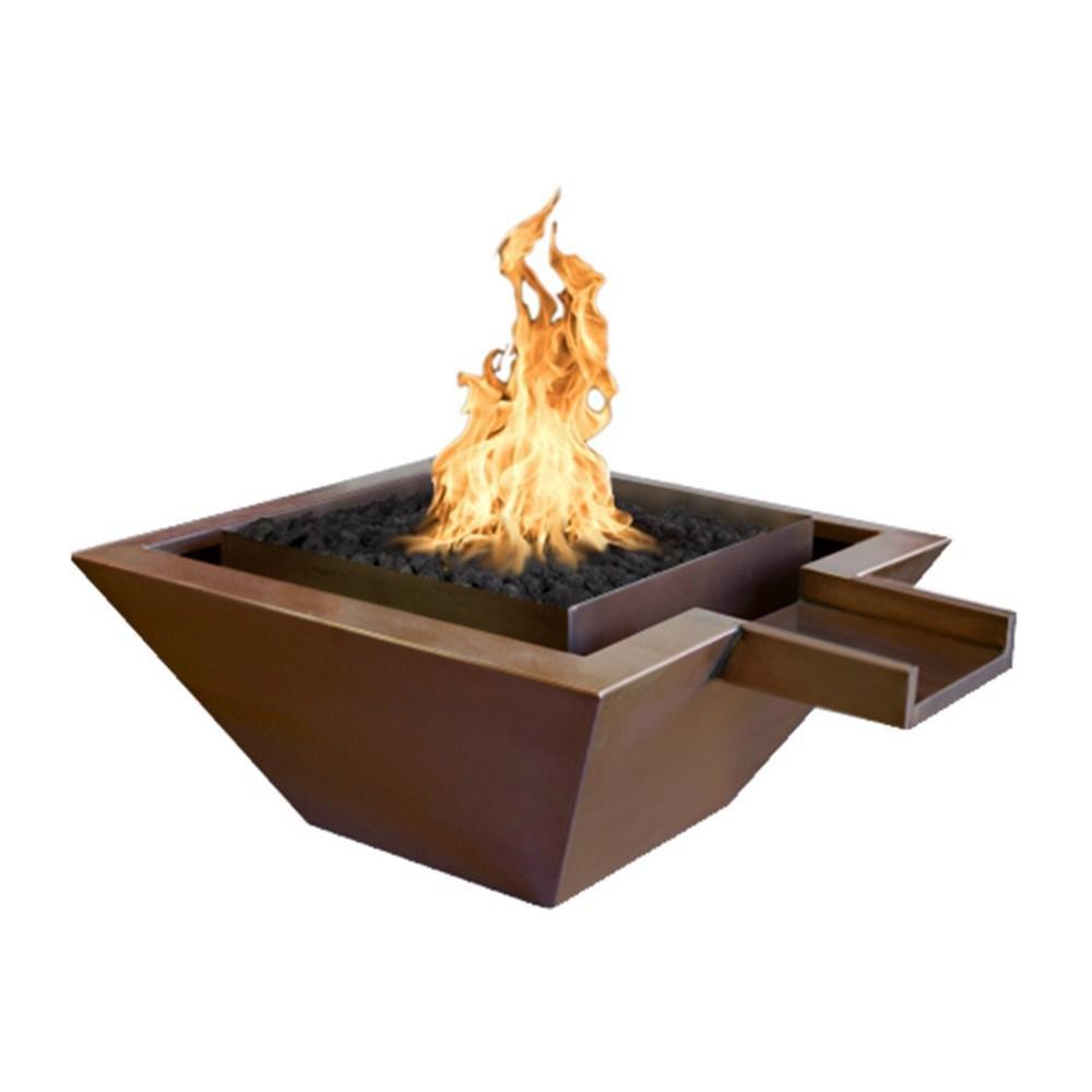 "Top Fires 36"" Square Copper Gas Fire and Water Bowl - Match Lit (OPT-SQ36FANDW)"