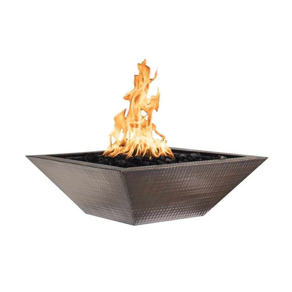 "Top Fires 36"" Square Copper Gas Fire Bowl - Match Lit (OPT-103-SQ36)"
