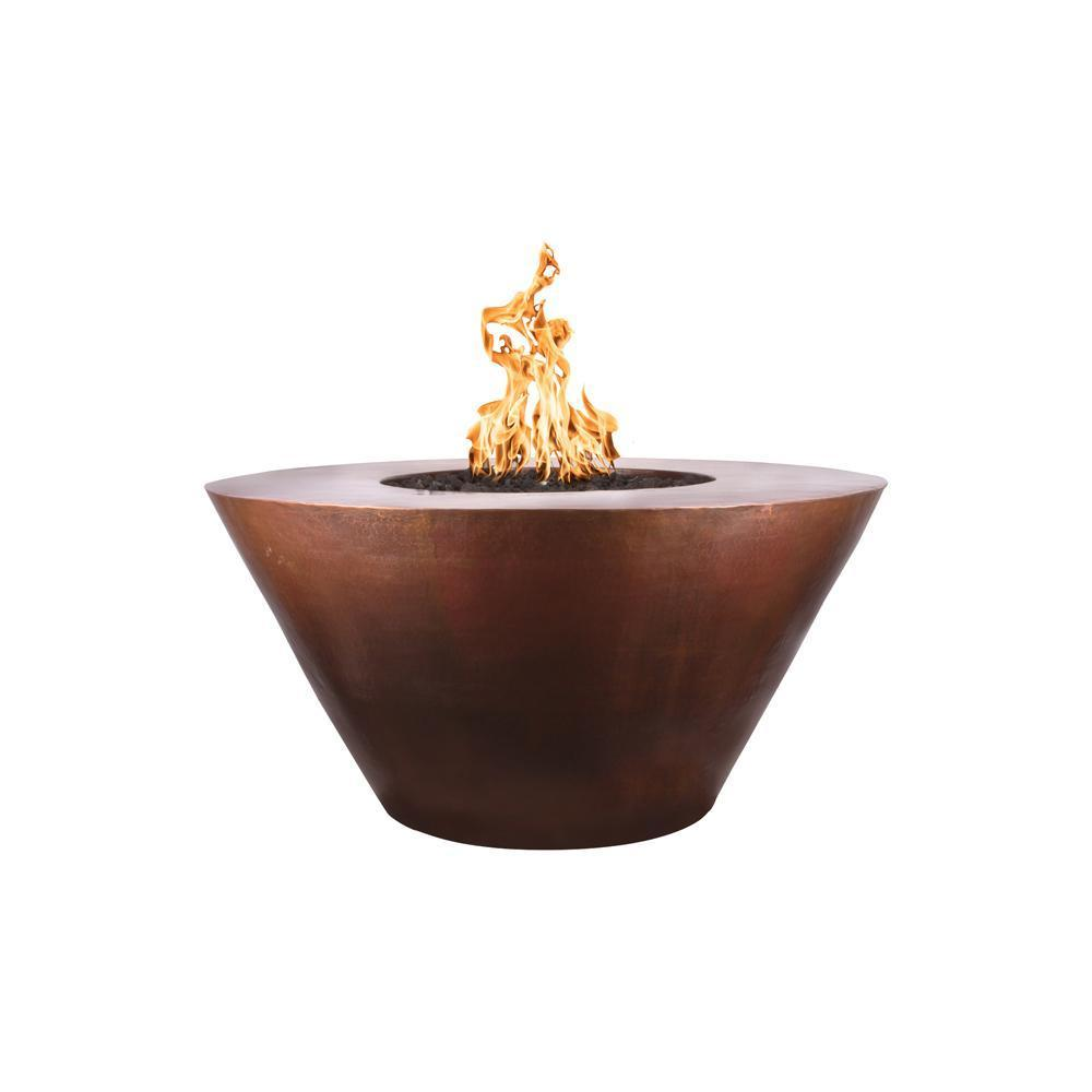 "Top Fires 48"" Round Hammered Copper Gas Fire Pit - Electronic (OPT-48RME)"
