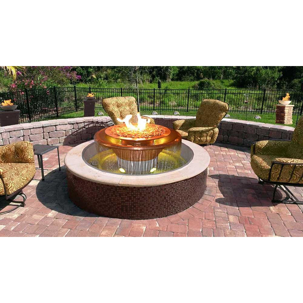 "Top Fires 60"" 360 Spillway Stainless Steel Gas Fire and Water Bowl"