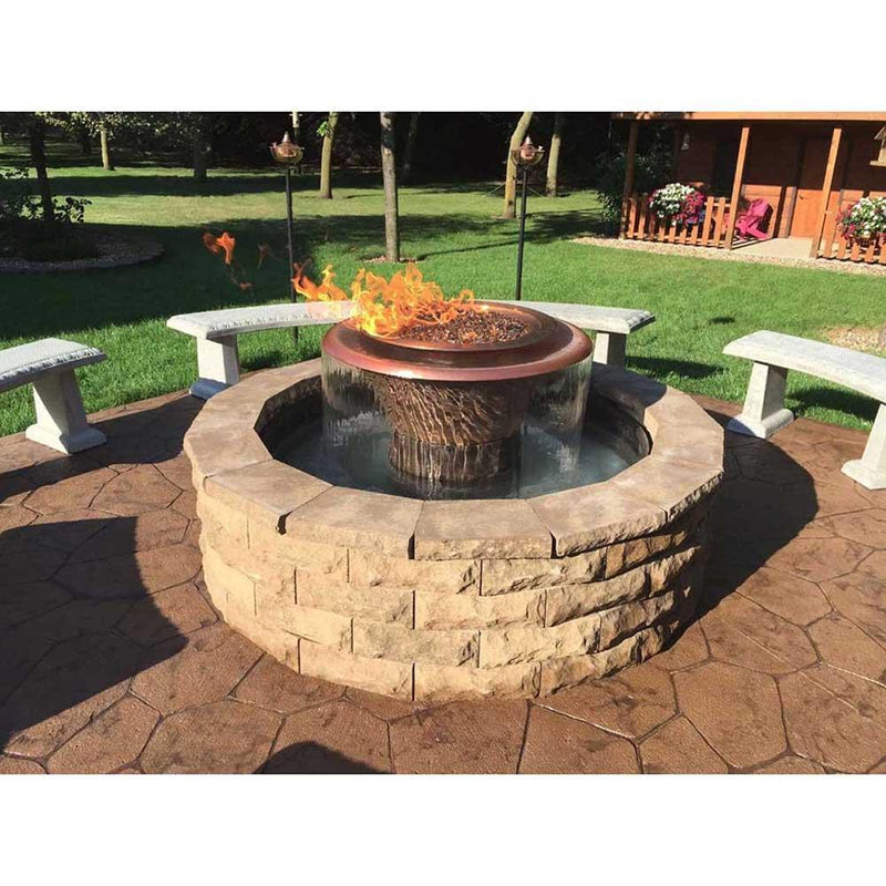 "Top Fires 60"" 360 Spillway Stainless Steel Gas Fire and Water Bowl in the garden"