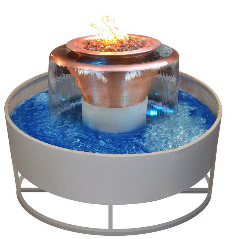 "Top Fires 60"" 360 Spillway Stainless Steel Gas Fire and Water Bowl - Match Lit (OPT-OLY60)"