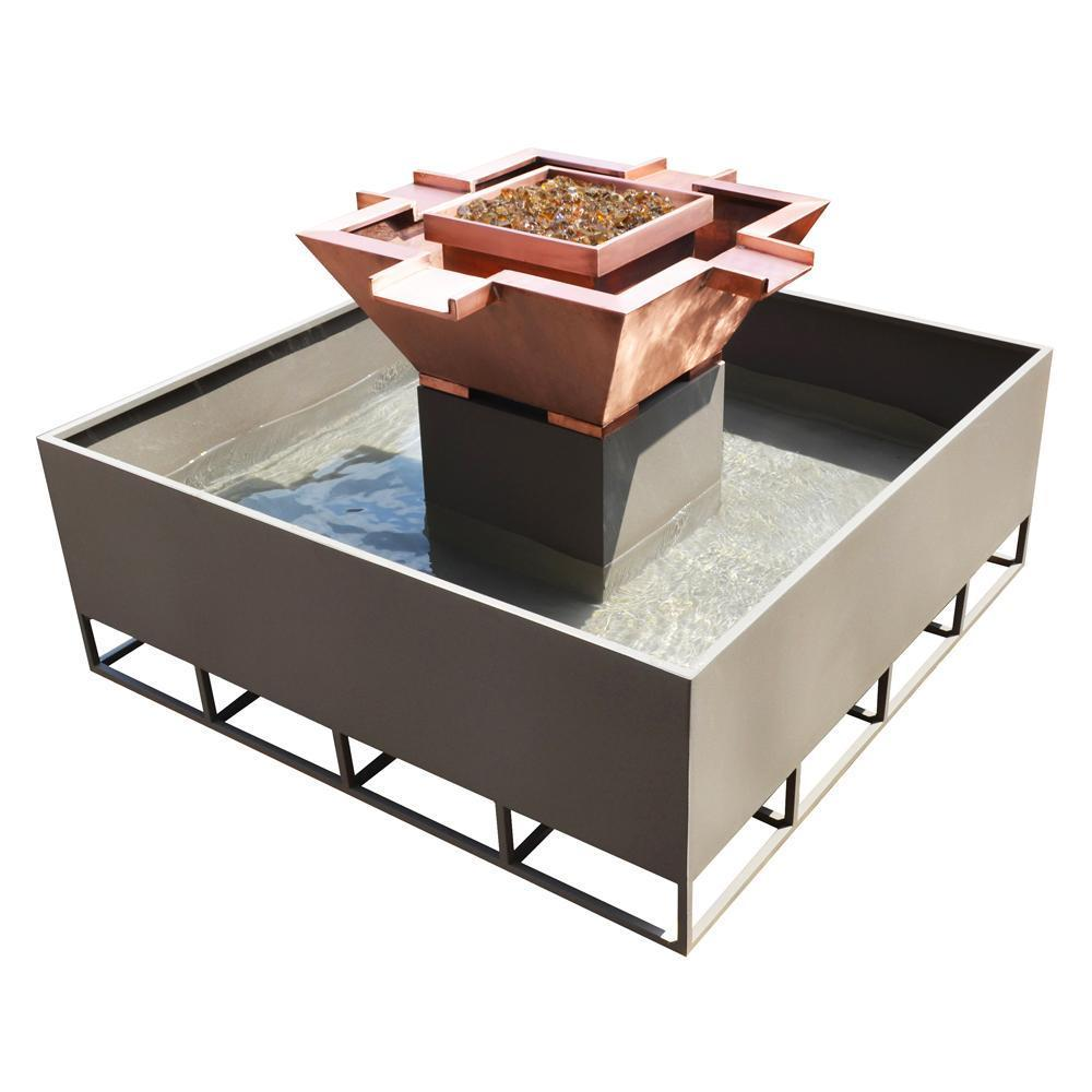 "Top Fires 60"" 4-Way Stainless Steel Gas Fire and Water Bowl - Match Lit (OPT-OLS60S)"