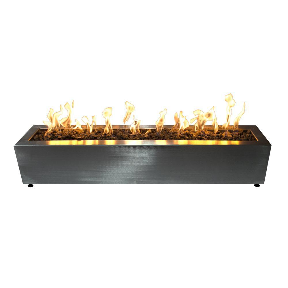 "Top Fires 60""x10"" Stainless Steel Fire Pit - Electronic (OPT-SLT60E)"