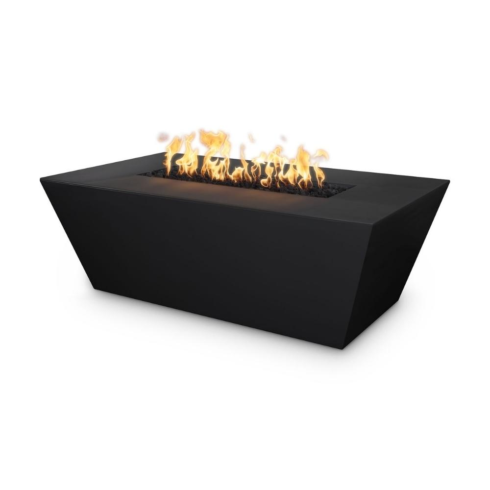 "Top Fires Angelus 60"" Rectangular GFRC Gas Fire Pit Table in Black"