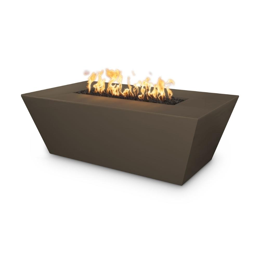"Top Fires Angelus 60"" Rectangular GFRC Gas Fire Pit Table in Chocolate"