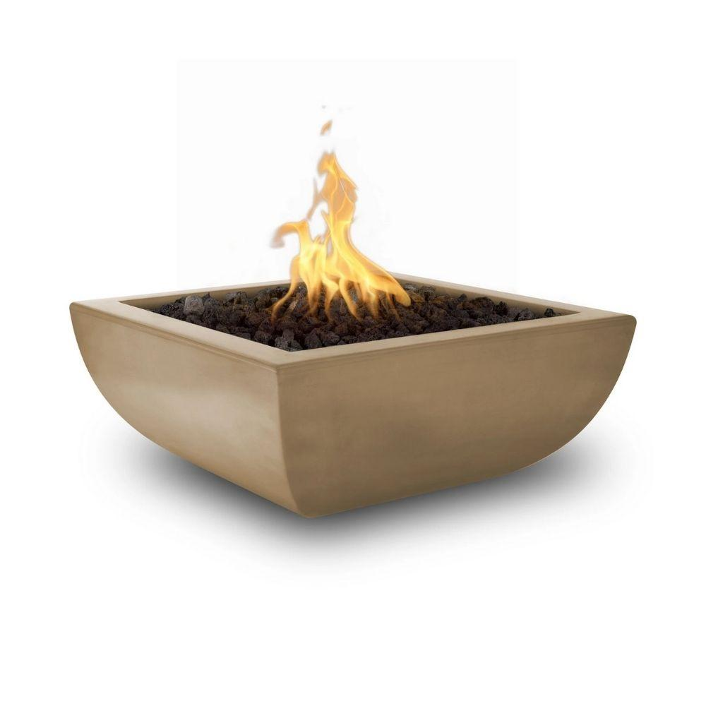 "Top Fires Avalon 36"" Square Concrete Gas Fire Bowl Brown"